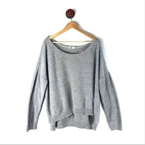 Anthropologie L Moth sweater oversized knit gray